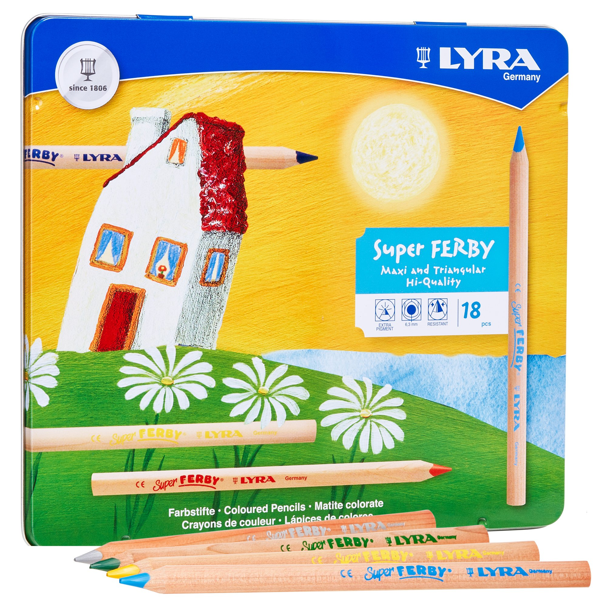 LYRA Super Ferby Giant Triangular Colored Pencil, Unlacquered, 6.25 Millimeter Cores, Assorted Colors, 18-Pack (3711180) by Lyra (Image #2)