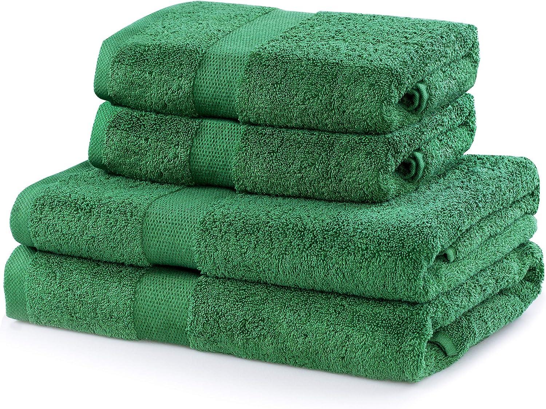 2*50x100 DecoKing Ecru Cotone Set di asciugamani da bagno in cotone assorbente Marina 2*70x140