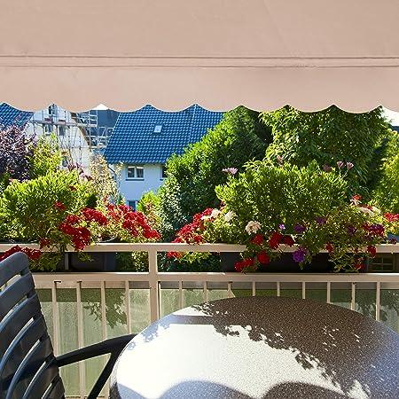 Hengda Tenda da Sole Balcone Regolabile in Altezza,Beige 150 x 120 x 200-300 cm,Tenda Parasole Rettratile,Parasole,Avvolgibile,per Esterno Giardino Balcone Terrazza