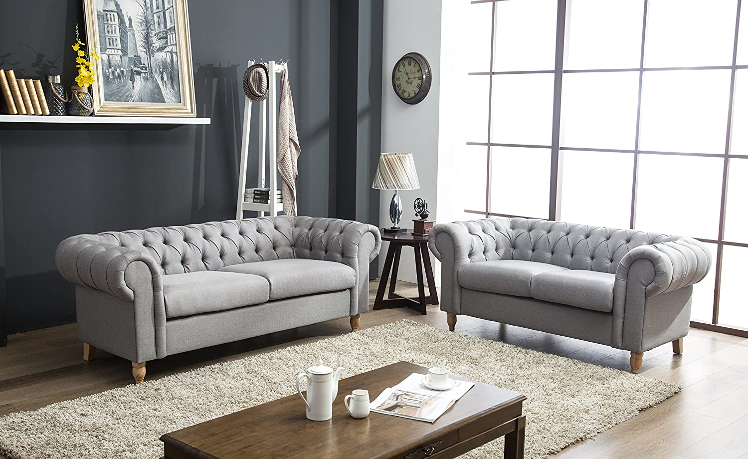 Canterbury Chesterfield Sofa 2 3 Seater Suite in Silver Grey Crushed Velvet  or Grey Linen Fabric With Real Wood Queen Anne Style Legs Feet (Grey ...