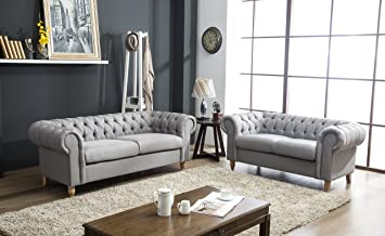 Canterbury Chesterfield Sofa 2 3 Seater Suite In Silver Grey Crushed