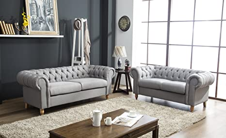 Outstanding Canterbury Chesterfield Sofa 2 3 Seater Suite In Silver Grey Crushed Velvet Or Grey Linen Fabric With Real Wood Queen Anne Style Legs Feet Grey Alphanode Cool Chair Designs And Ideas Alphanodeonline