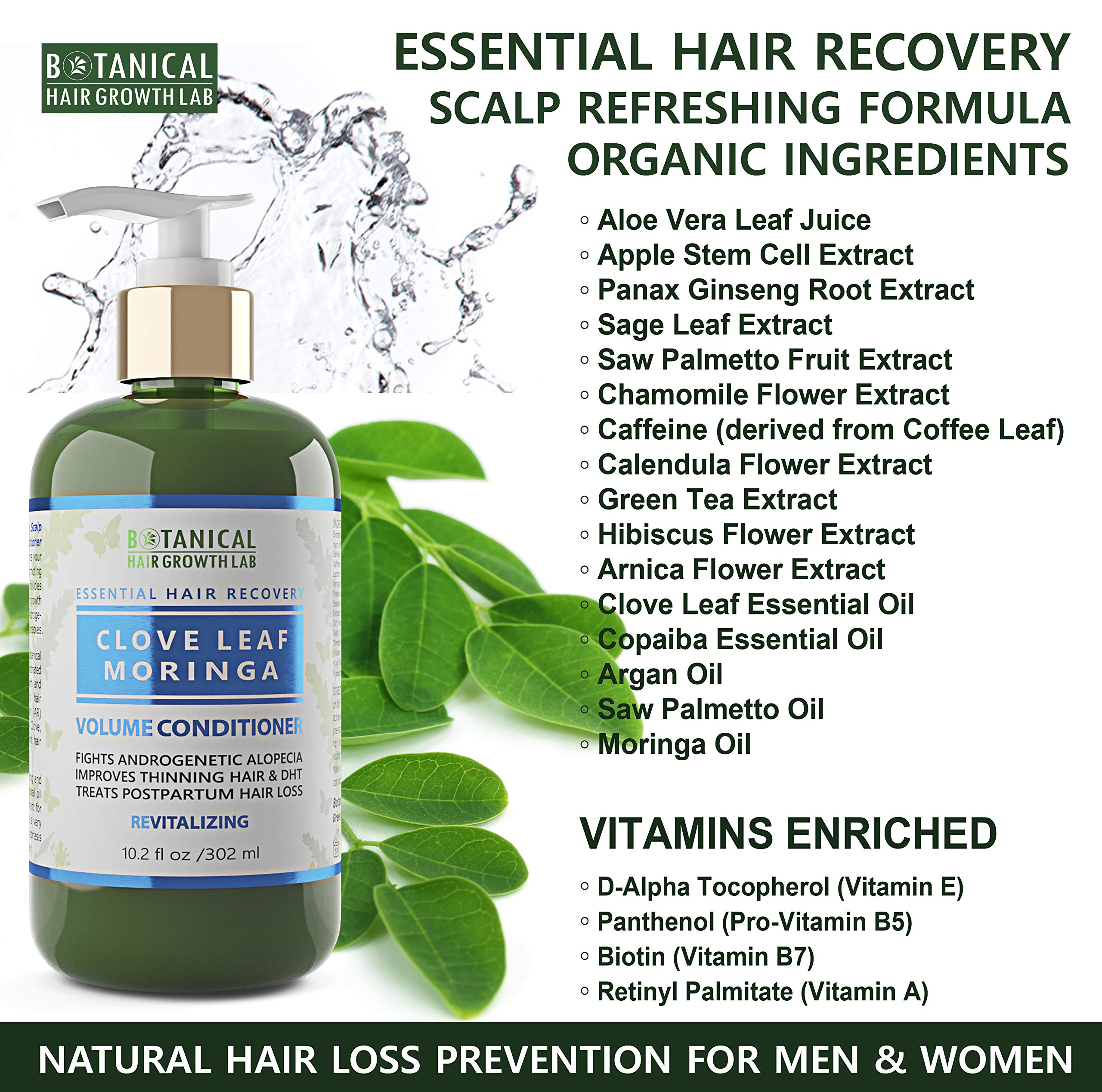Botanical Hair Growth Lab Biotin Conditioner - Clove Leaf Moringa Formula - Anti Hair Loss Complex - DHT Blockers, Sulfate Free, Natural Ingredients for Men & Women by BOTANICAL HAIR GROWTH LAB (Image #4)