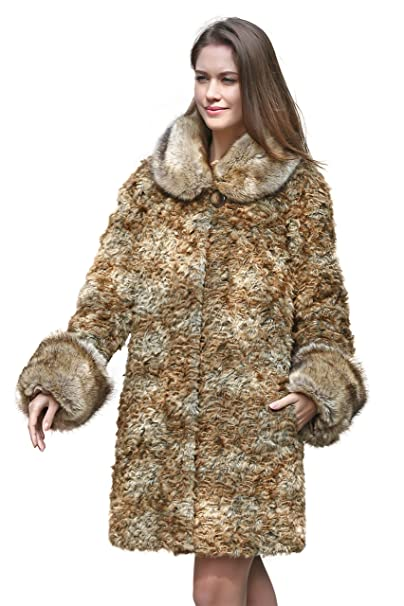 Adelaqueen Abrigo de invierno de piel de cordero persa y cuello de piel de mapache de imitación para mujer: Amazon.es: Ropa y accesorios