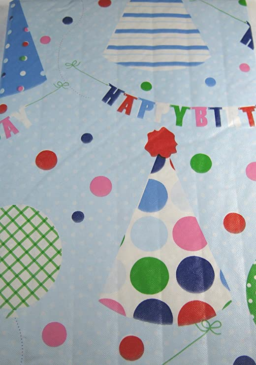 52 x 70 Oblong Happy Birthday Balloons and Ribbon Flannel Back Vinyl Tablecloths By Elrene Assorted Sizes