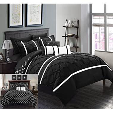 Chic Home Dorothy 10 Piece Pinch Pleated Ruffled and Reversible Geometric Design Printed Bed in A Bag Comforter Sheet Set, King, Black