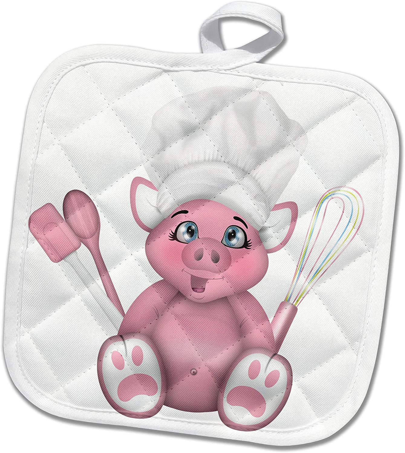 3dRose Cute Pink Pig Chef With Whisk, Spatula, and Spoon Illustration - Potholders (phl_327351_1)