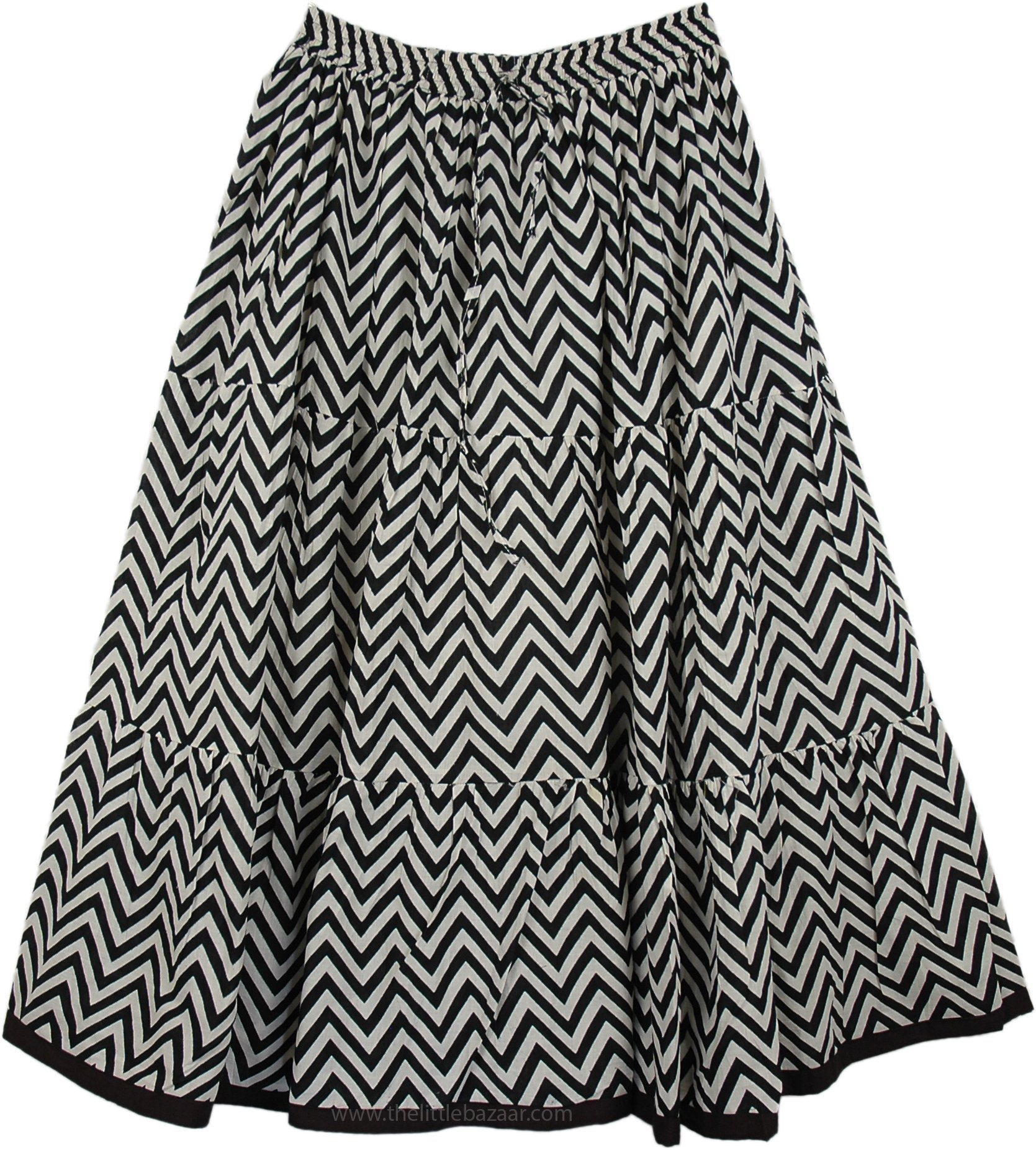 TLB Mid Length Black White Skirt in Printed Cotton - L:30''; W:24''-34''
