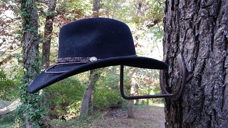 Horseshoe Cowboy Hat Rack, Blacksmith Made, Real Horseshoes, Worn by Horses