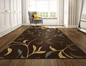 "Ottomanson Ottohome Contemporary Leaves Design Modern Area Rug with Non-Skid Rubber Backing 8'2"" W x 9'10"" L, Chocolate"