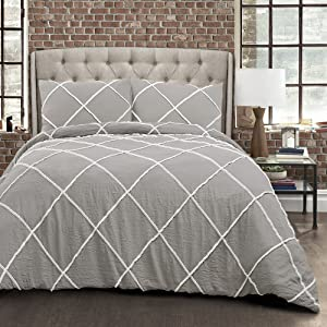 Lush Decor Diamond Pom Comforter 3 Piece Set with Pillow Shams, Full Queen, Gray