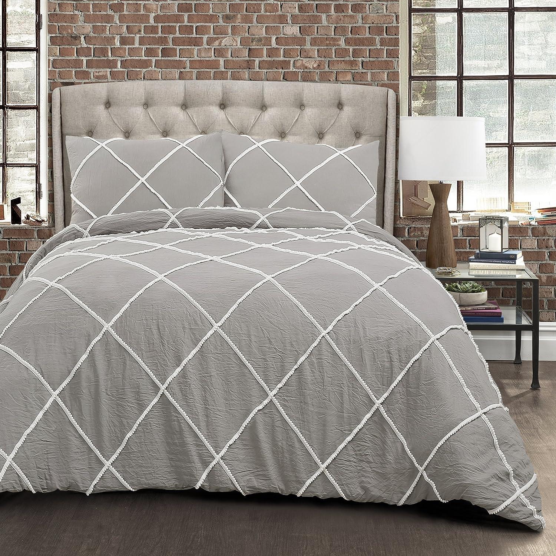 Lush Decor Diamond Pom 3 Piece Comforter Set 3, King, Gray