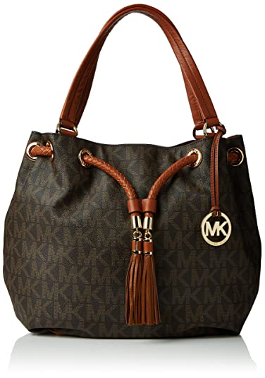 5a498a4fa6e94 Michael Kors Jet Set Large Gathered MK Logo PVC Brown  Amazon.co.uk ...
