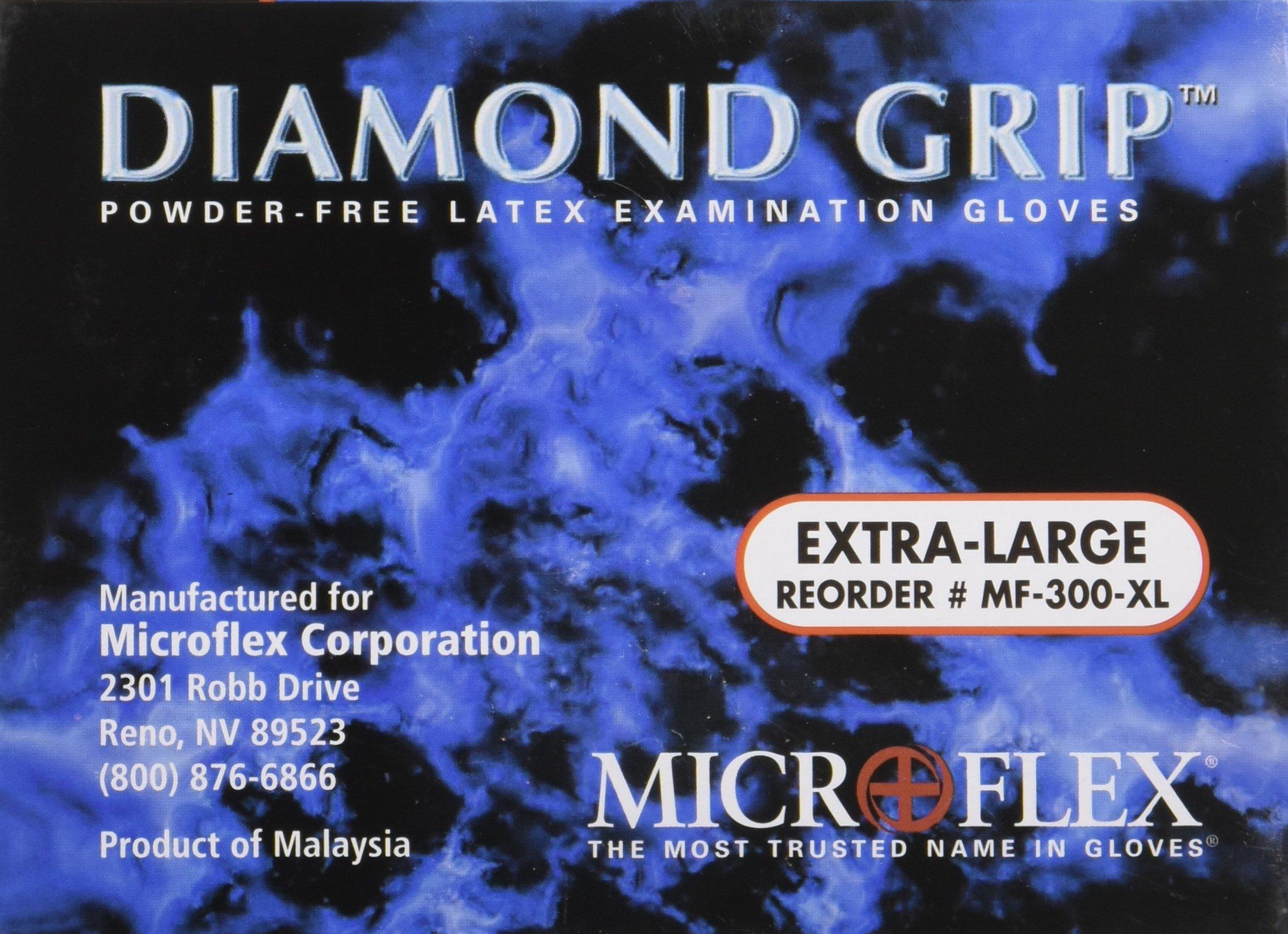 Microflex MF300XL-10PK - Diamond Grip Powder-Free Latex Gloves - Case Of 10 B... by Microflex (Image #4)