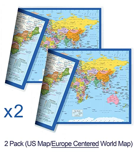 NewSpaceView Classic United States USA and World Desk Map, 2 ...