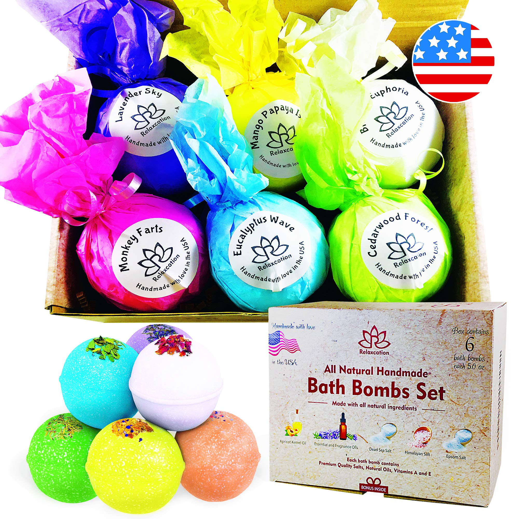 Natural Bath Bombs Gift Set For Women, Relaxation and Moisturizing Large Bath Bomb Hand Made in USA, Safe for Sensitive Skin - Epsom Dead Sea Salts & Essential Oils - Spa Fizzies (6x5oz)