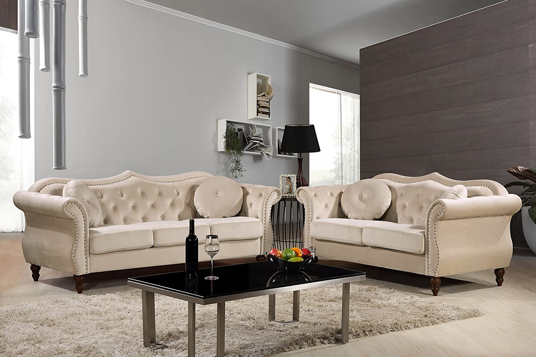 """Carbon Velvet Upholstered Classic Chesterfield Sofa Set, 79.5"""" Sofa and Loveseat, Ivory"""