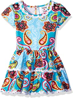 055f5a9fae44 Counting Daisies Girls  Little Teal Orange Lime Paisley Print Drop Waist  Dress