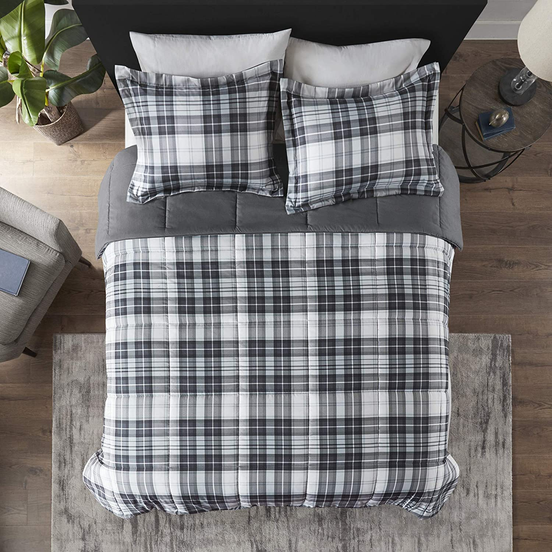 3M Scotchguard Stain Release Cover Hypoallergenic All Season Bedding-Set Black 2 Piece Madison Park Essentials Parkston Plaid Comforter Twin//Twin XL Matching Sham