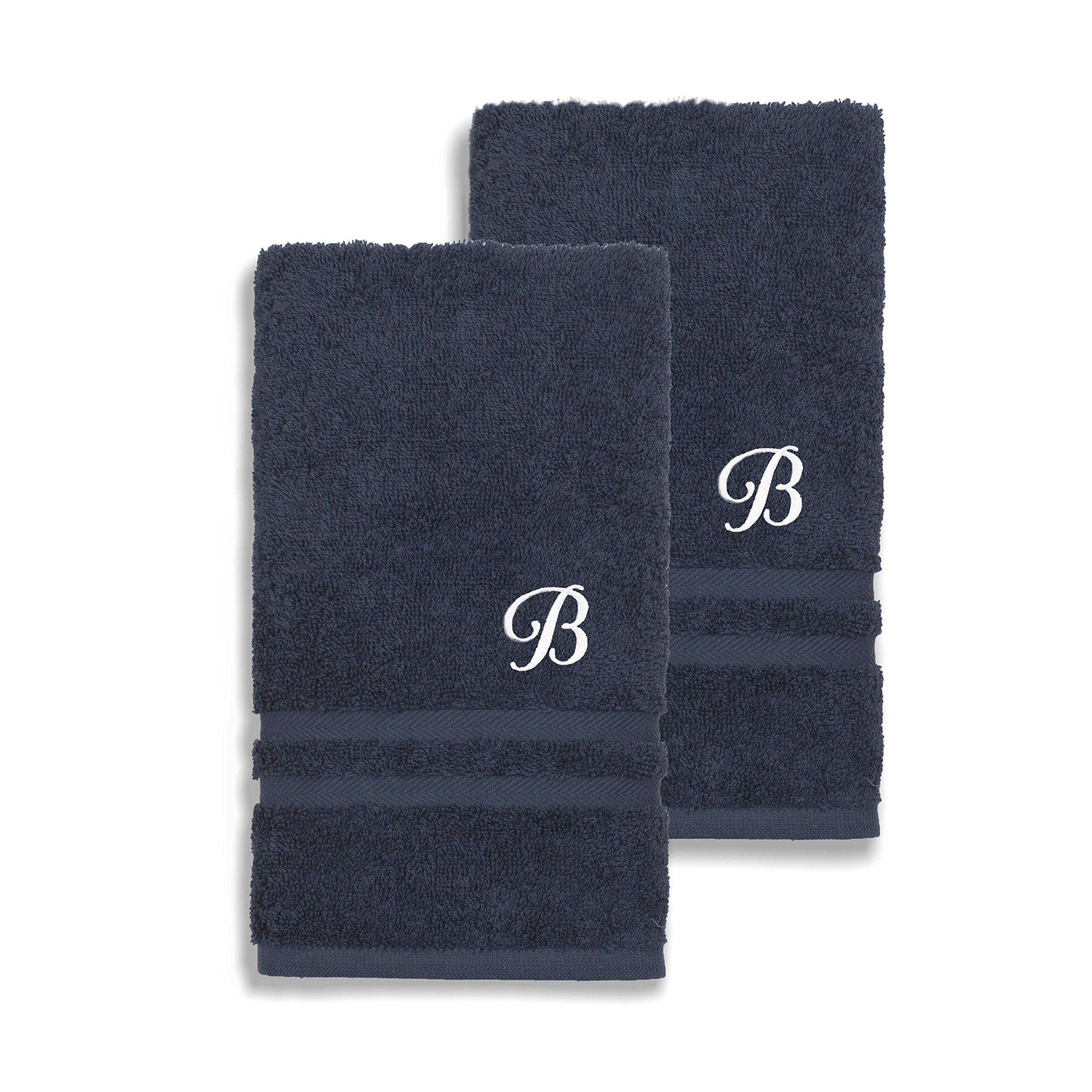 Authentic Hotel and Spa Omni Turkish Cotton Terry Set of 2 Navy Blue Hand Towels with White Script Monogrammed Initial Navy Blue/M