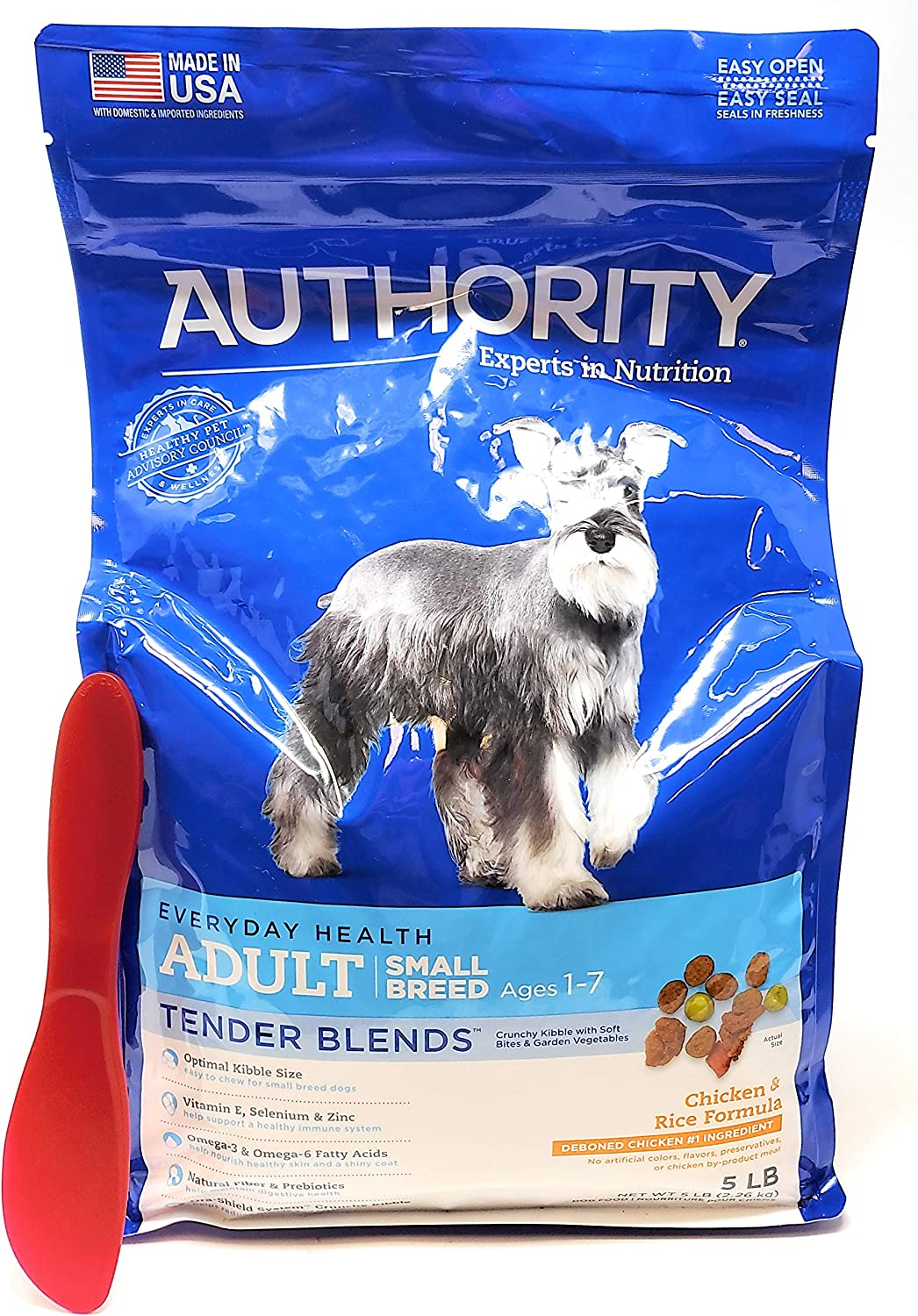 Authority Adult Small Breed Tender Blends Dry Dog Food (Chicken and Rice) 5lbs and Especiales Cosas Mixing Spatula