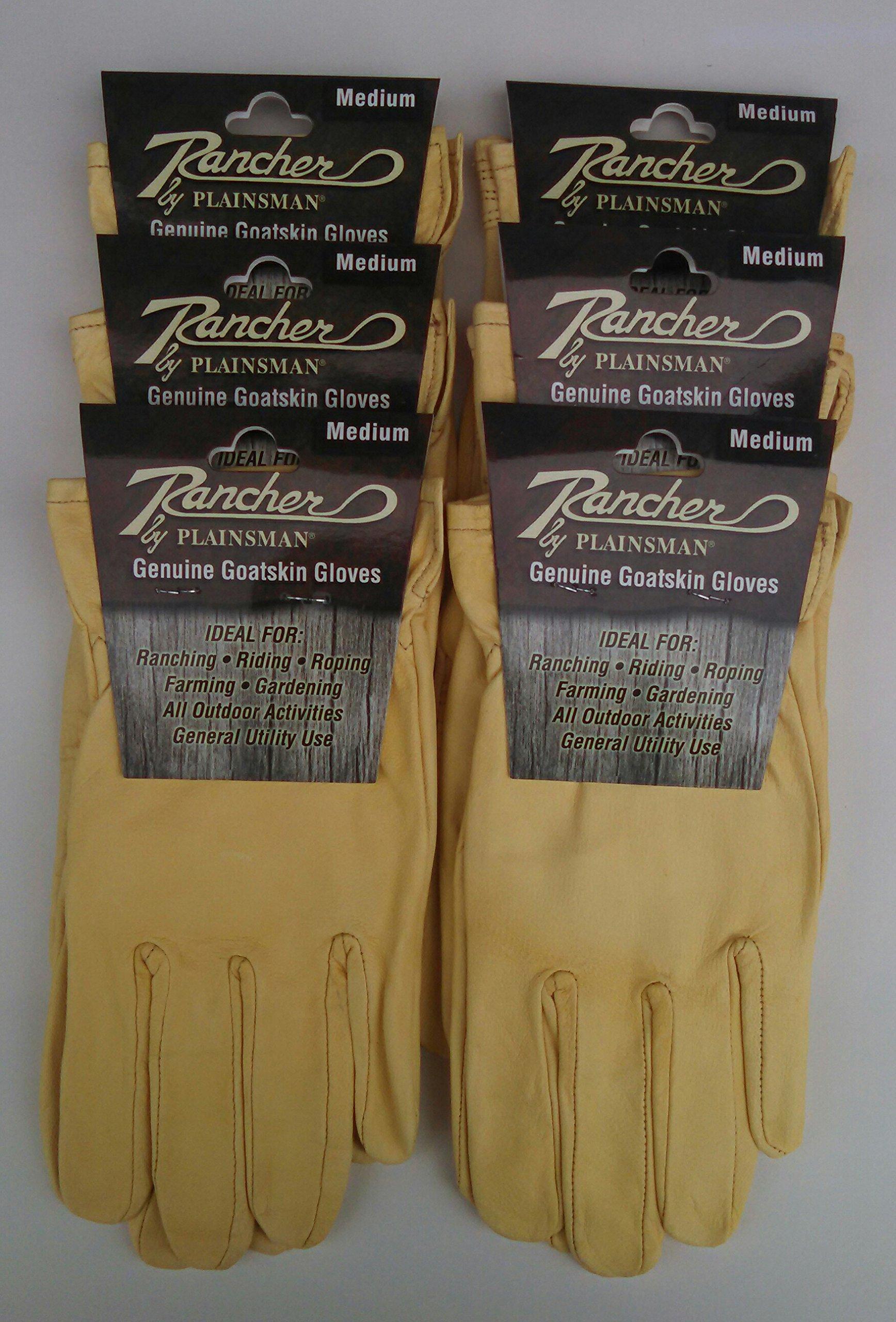 Rancher By Plainsman Goatskin Cabretta Leather Gloves MEDIUM 6 Pair Bundle