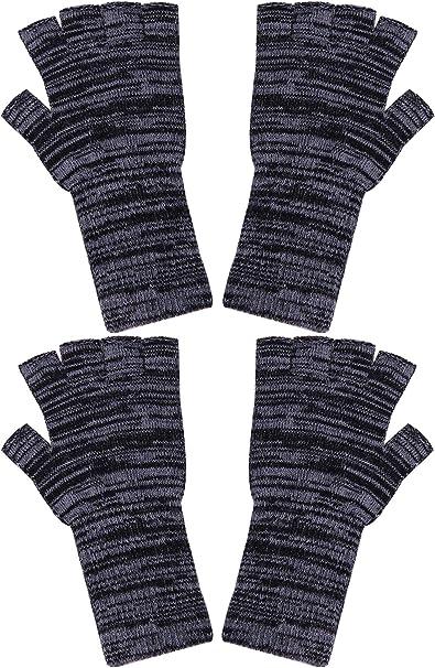 Cooraby Unisex Halbfinger Handschuhe Für Den Winter Dehnbar Gestrickt Fingerlos 2 Paar Gr Medium Schwarz Grau Bekleidung