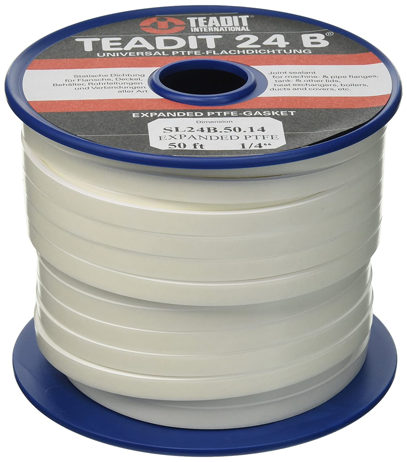 Sterling Seal and Supply STCC 1500.25050 1500 Teadit 24B White PTFE Joint Sealant for Applications in Steel Glass Lined PVC and Fiber Glass Pipe Flanges Fume Ducts Concrete Lids Heat Exchangers 1 4 Wide 50'