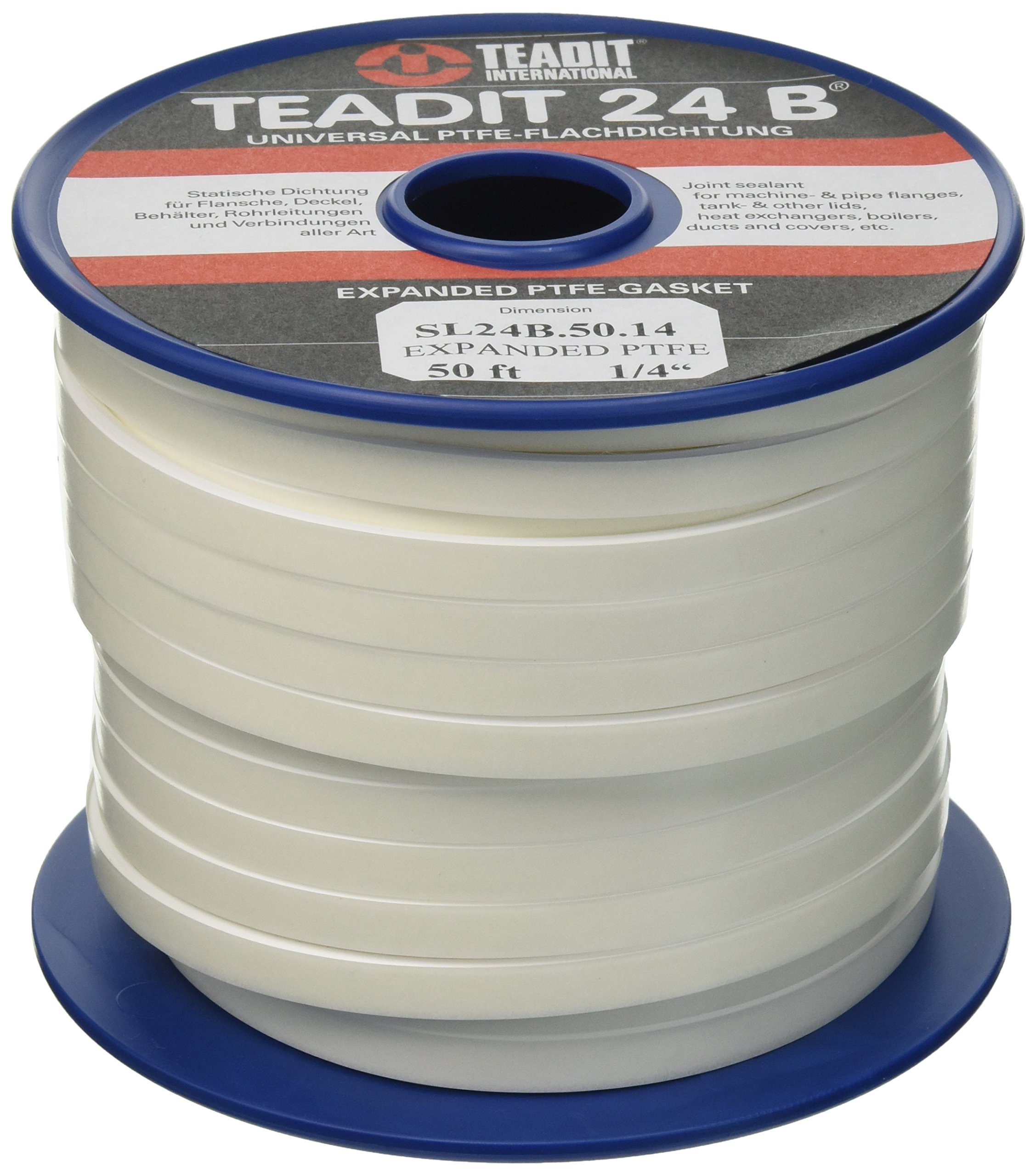 Sterling Seal and Supply (STCC)  1500.25050 1500/Teadit 24B White PTFE Joint Sealant for Applications in Steel, Glass Lined, PVC and Fiber Glass Pipe Flanges, Fume Ducts, Concrete Lids, Heat Exchangers, 1/4'' Wide, 50' by Sterling Seal & Supply, Inc. (STCC) (Image #2)