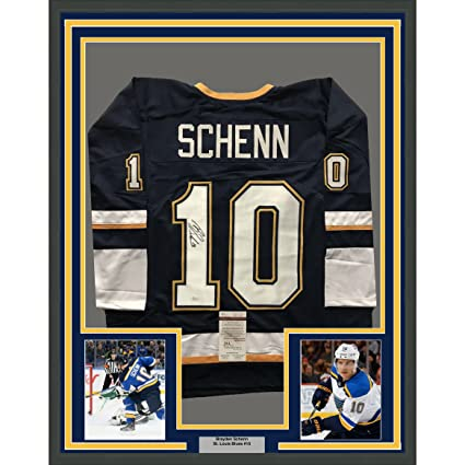 29f88a1ab Framed Autographed Signed Brayden Schenn 33x42 St. Louis Alternate Blue  Hockey Jersey JSA COA