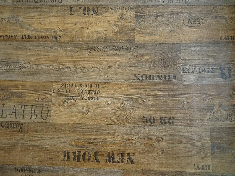 L/änge: 100 cm, Breite: 200cm PVC mit Schriftz/ügen braun von Alpha-Tex 9.95/€//m/²