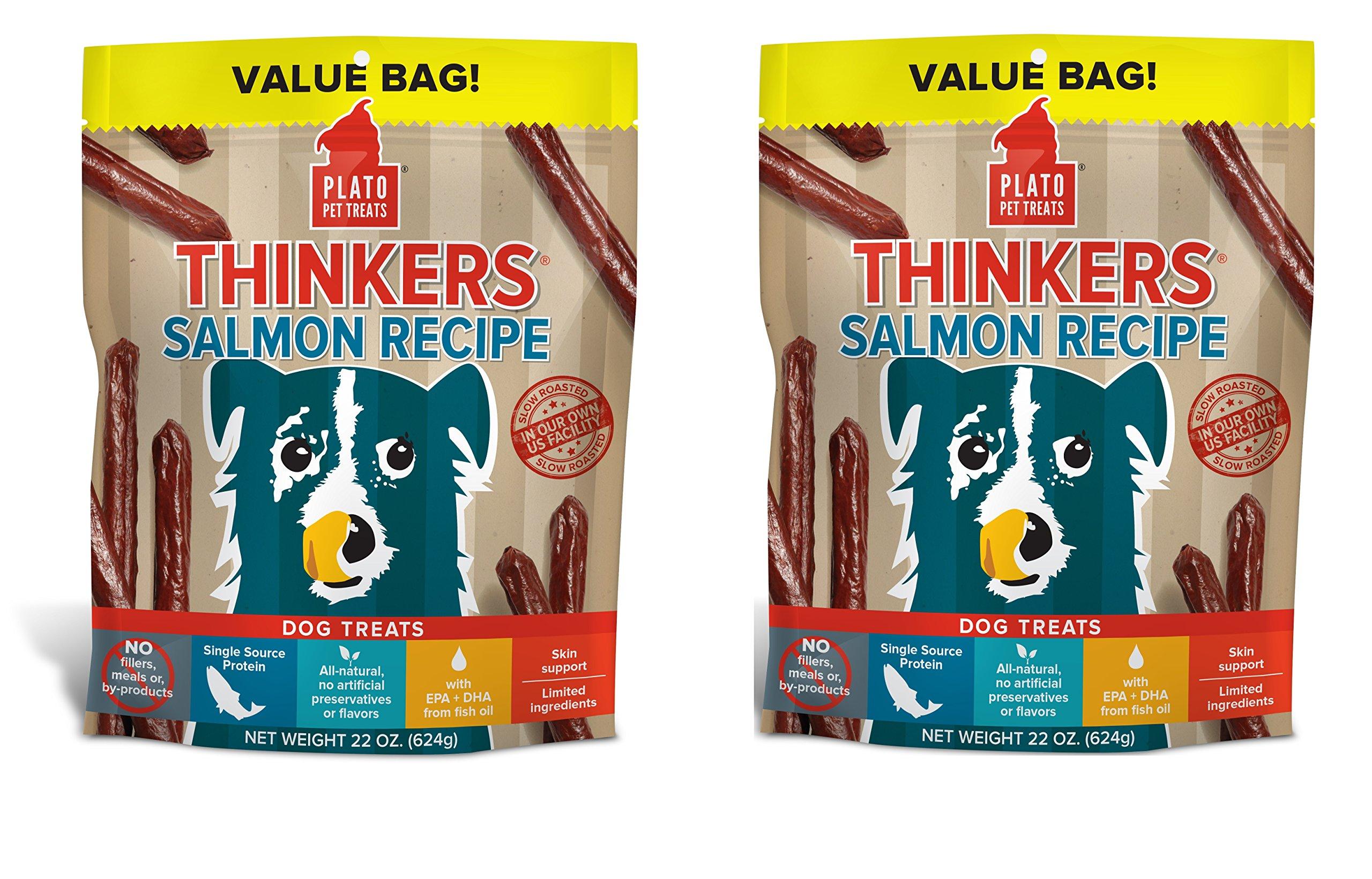 PLATO Dog Treats - Thinkers Pacific Salmon Sticks- 22 oz (2 Pack)