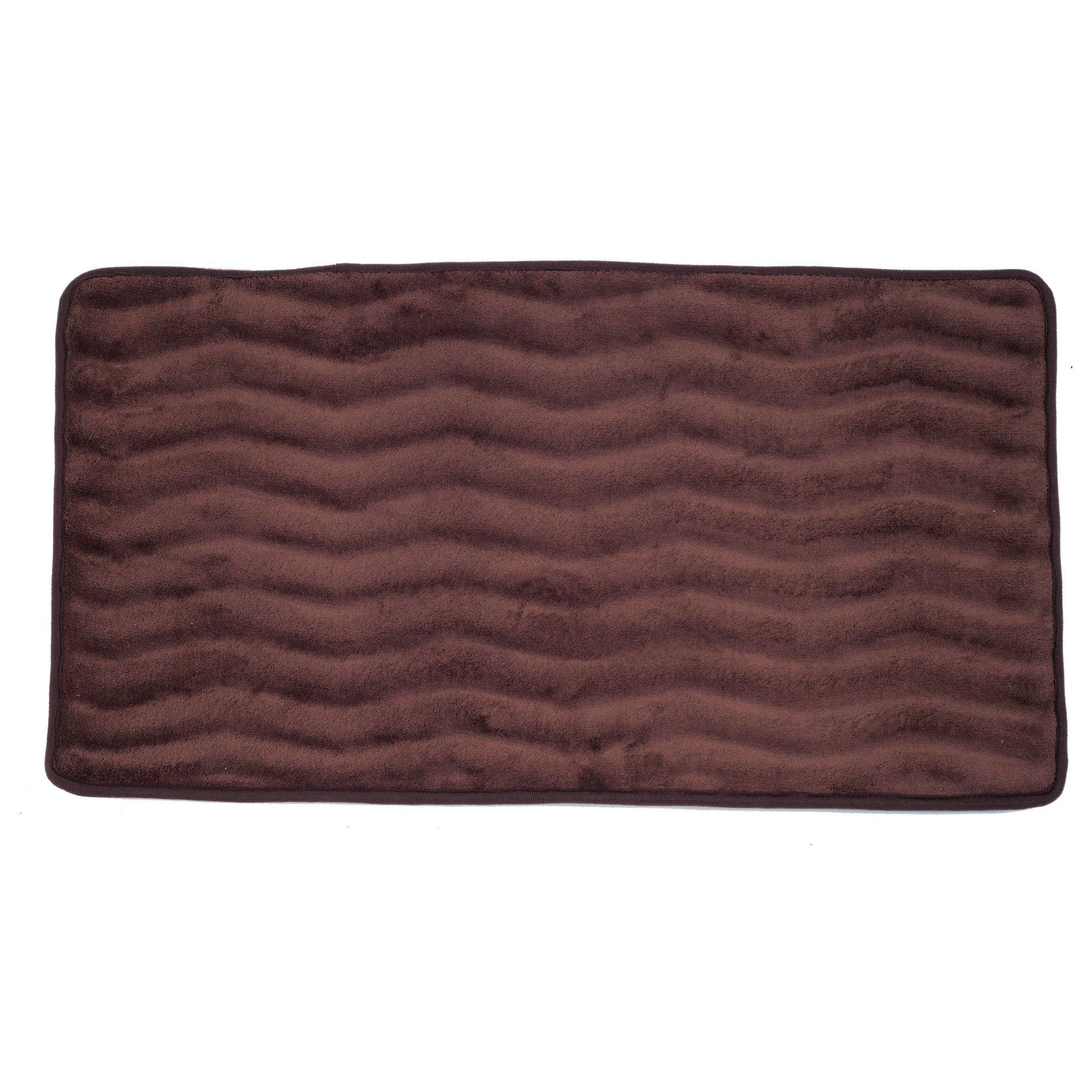 Lavish Home Memory Foam 24 by 60-Inch Bath Mat, Chocolate, X-Long