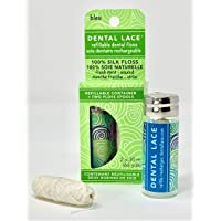 Dental Lace | Silk Dental Floss | Includes 1 Refillable Recyclable Blue Dispenser and 2 Floss Spools with Natural Mint Flavoring | 66 yards Dental Lace | Soie dentaire | Comprend 1 Distributeur Bleu Recyclable et 2 Bobines Floss Avec Arôme Naturel De Menth