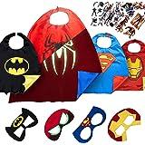 LAEGENDARY Superhelden Kostüm für Kinder - 4 Capes und Masken – Superhelden Party - Im Dunkeln Leuchtendes Spiderman Logo - Spielzeug für Jungen und Mädchen - Karneval Fasching Costume