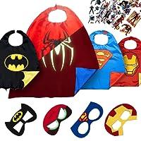 LAEGENDARY Costumi da Supereroi per Bambini - Regali di Compleanno - Costumi di Carnevale - 4 Mantelli e Maschere - Logo di Spiderman Visibile al Buio – Giocattoli per Bambini e Bambine (Spiderman)