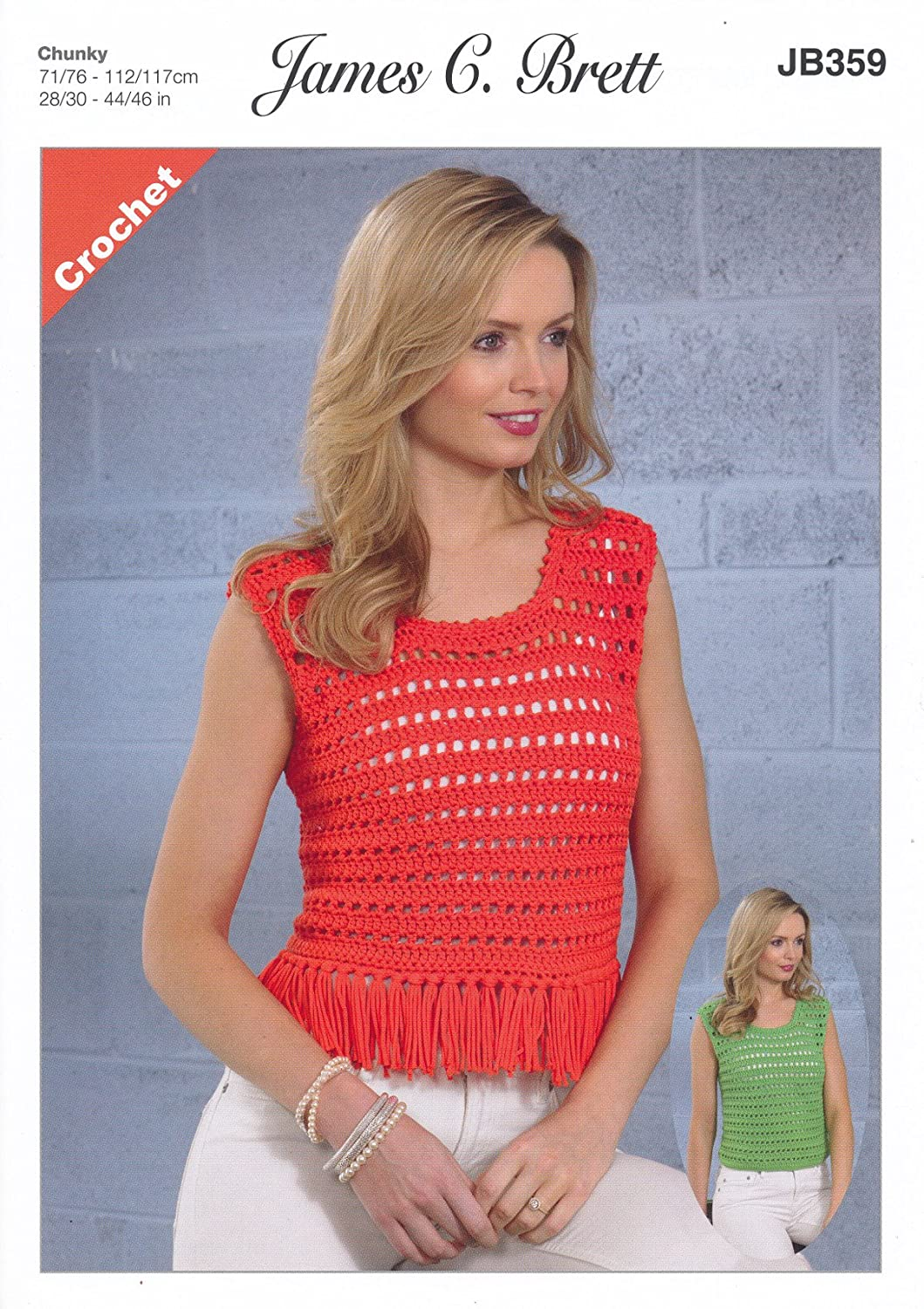 James Brett Ladies Crochet Pattern Womens Vest & Cropped Tassel Top Noodles Chunky