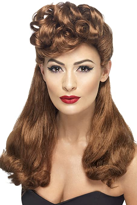 1940s Dresses and Clothing UK | 40s Shoes UK Smiffys 40s Vintage Wig Auburn Long with Top Curls £10.46 AT vintagedancer.com