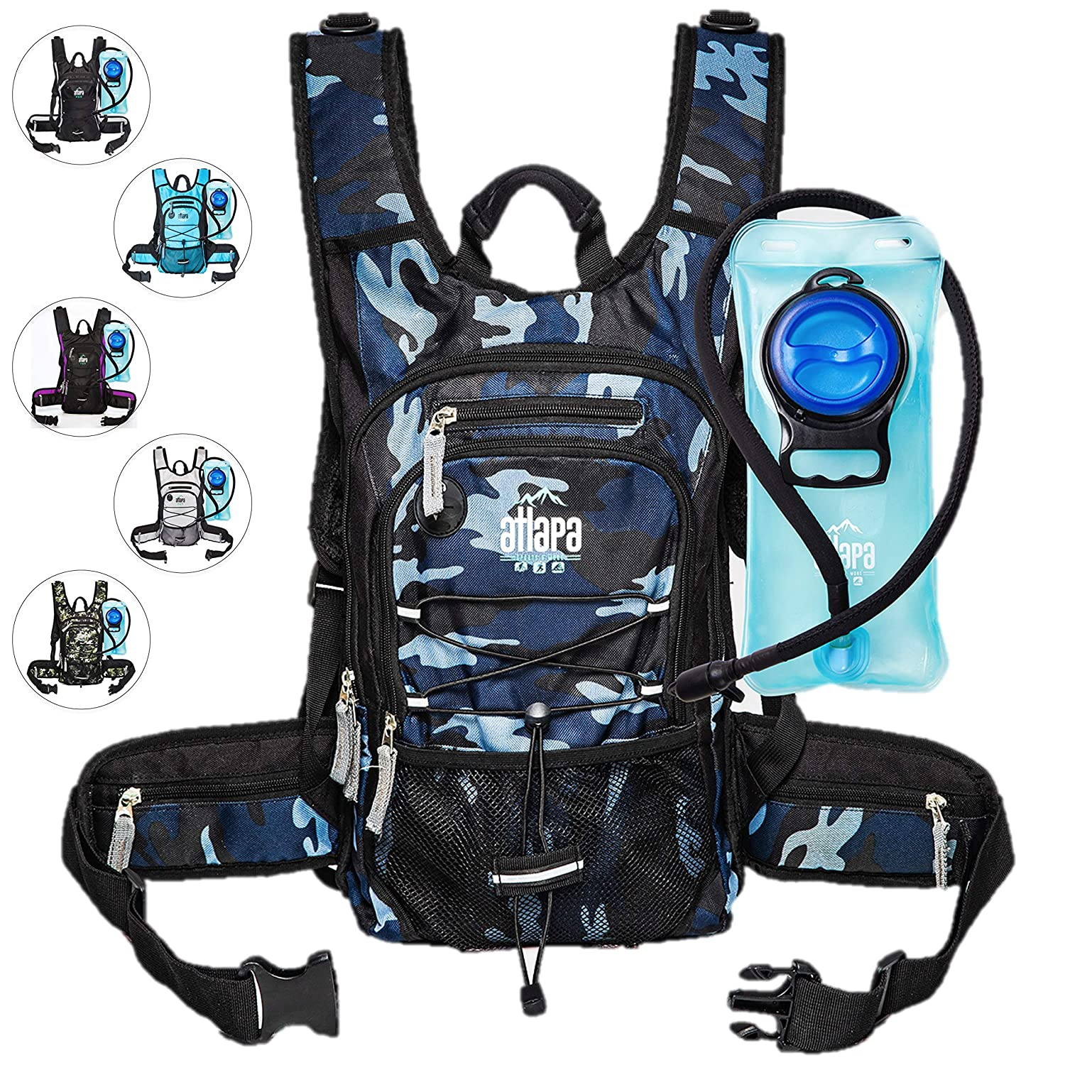 Atlapa Sports Lightweight Hydration Backpack 2L TPU Leak Proof Water Bladder Insulated Pocket Cold Storage Padded Shoulder Adjustable Straps Day Pack Hiking