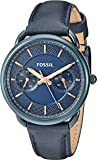 Fossil Women's Quartz Stainless Steel and Leather Casual Watch, Color:Blue (Model: ES4092)