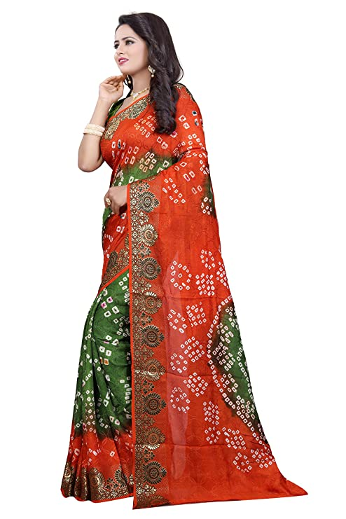 31e24995bb428 Amazon.com  Lilots Women s Art Silk Darpan Border Bandhani Sarees Indian  Saree With Unstitched Blouse Piece (women 1130)  Clothing