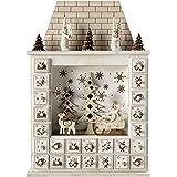 WeRChristmasDecorazione natalizia: casa di Babbo Natale con calendario dell'Avvento, in legno, 40cm, colore: beige naturale