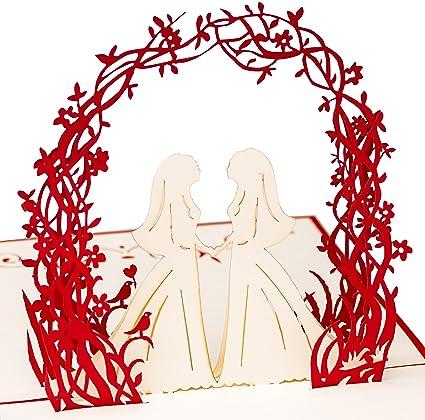 Biglietto Di Auguri Per Matrimonio Pop Up Con Motivo Di Coppia Di Spose In 3d Realizzato A Mano