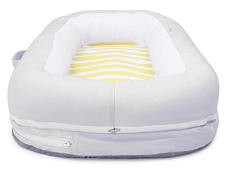Babycurls Baby Sleep Nest Sleeping Pod Multi-Function Portable Cocoon Washable 100/% Soft Cotton Newborn 0 Months Lemon Stripe