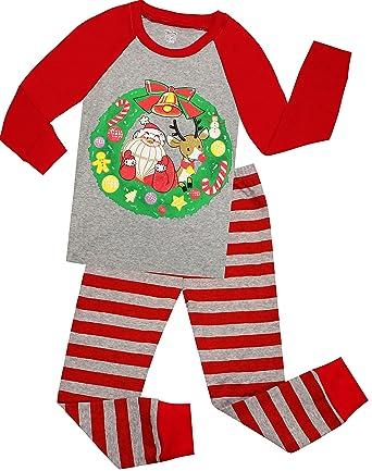 girls and boys christmas pajamas children santa claus sleepwear kids pjs pants set size 2 years