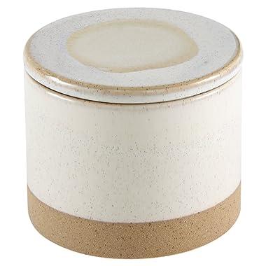 Stone & Beam Organic-Shape Stoneware Round Decorative Organizer Box, 4.75 Inch Height, Sand