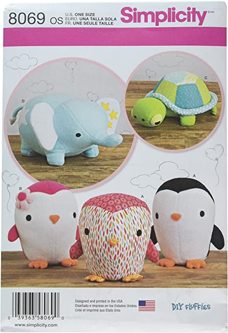Turtle and Elephant  DIY Fluffies Simplicity 8069 Stuffed Penguins