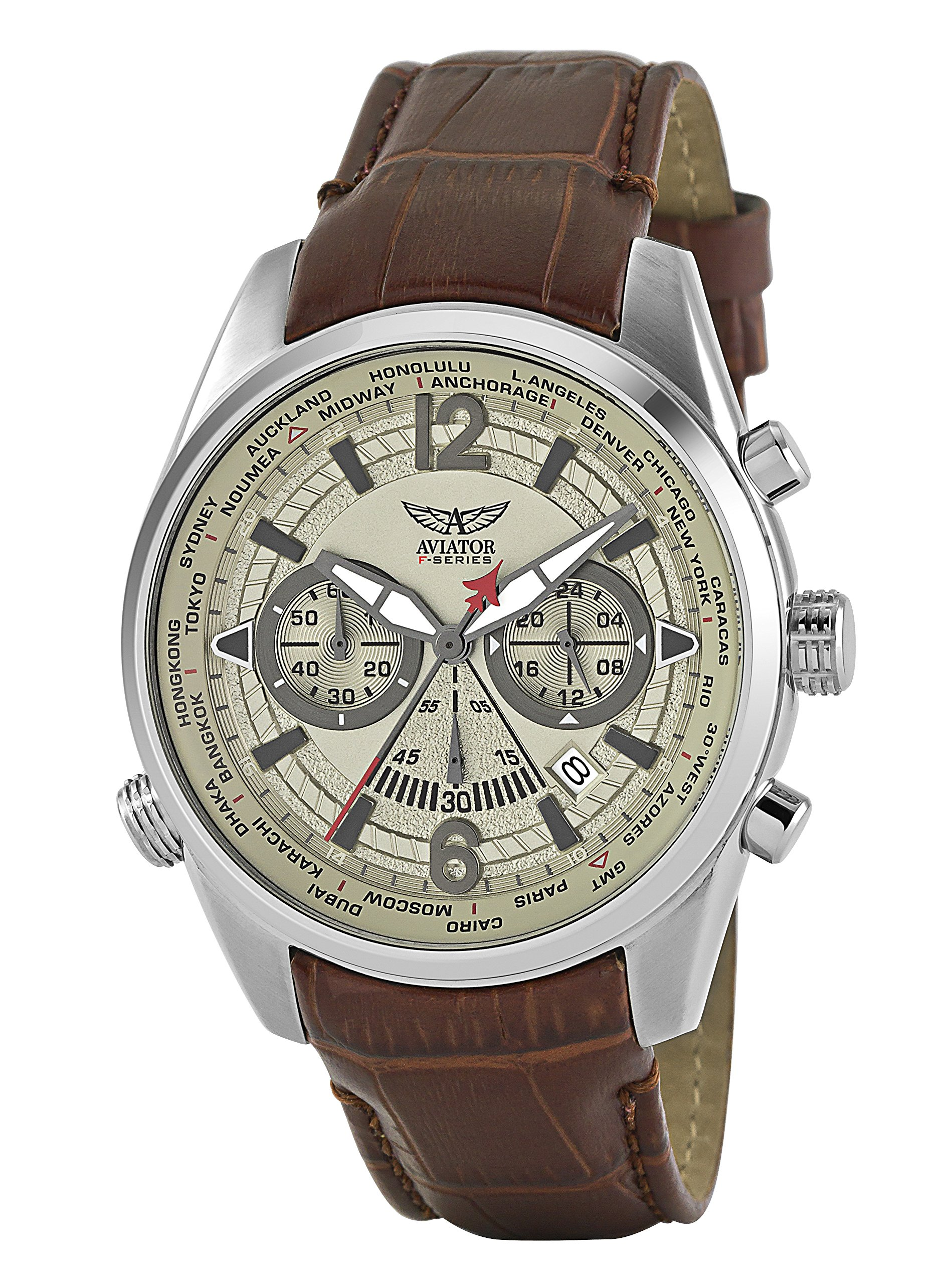 Aviators Watch by Aviator F-Series - Aviators Brown Strap Beige Dial and Luminous Indices - Pilot Quartz Chronograph AVW2120G318