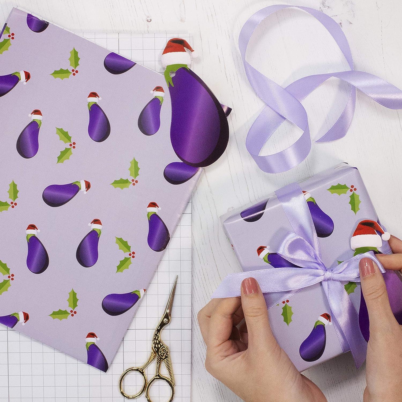Ginger Ray- Naughty Christmas Kit Berenjena con Cinta, Papel de Envoltura y Etiqueta, Color novedad (NC-118): Amazon.es: Juguetes y juegos
