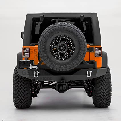 GSI Rock Crawler Full Width Rear Bumper With Tire Carrier, 2u0026quot; Hitch  Receiver For